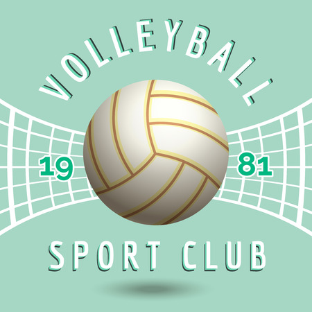 volleyball net: Volleyball sport team emblem with volleyball net in vintage style vector illustration