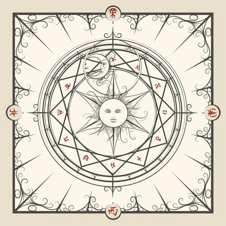 mystic: Alchemy magic circle. Mystic occult hermetic circle vector illustration Illustration