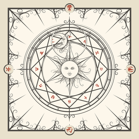 Alchemy magic circle. Mystic occult hermetic circle vector illustration Illustration