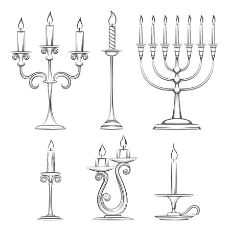 candlestick: Vector hand drawn candlesticks. Vintage candelabra, candlestick and menorah sketch