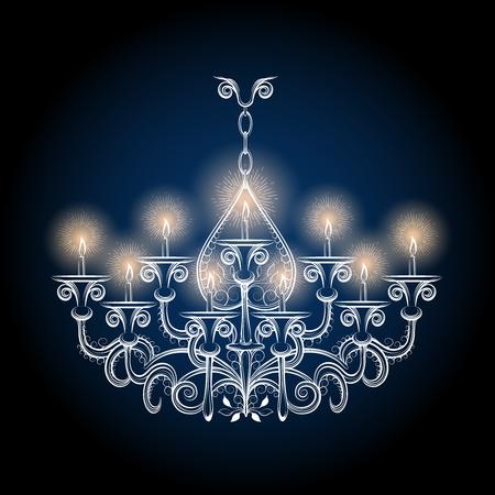 lampshades: Chandelier sketch. Vector antique hand drawn gothic vintage chandelier