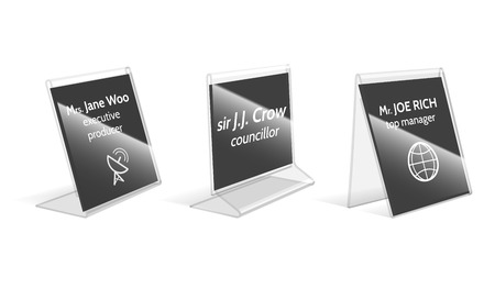 sign holder: Acrylic holder, plastic name plate vector illustration