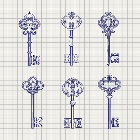 clues: Set of hand drawn ornamental keys. Sketch on the notebook page, vector illustration
