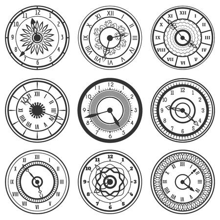 Conjunto de relojes ornamentales aislados en blanco. ilustración vectorial