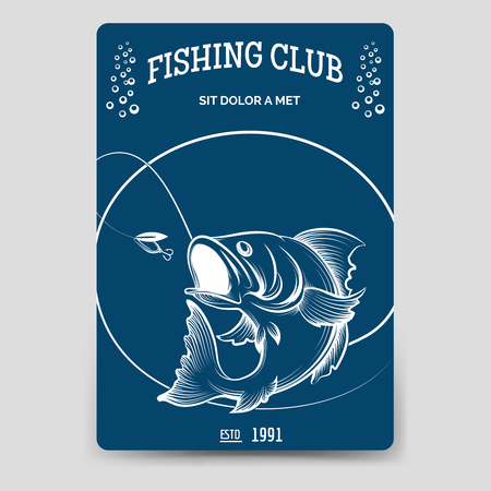 days gone by: Fishing club brochure flyer template vector illustration Illustration