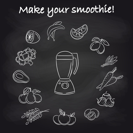 borscht: Hand drawn blender and popular smoothie ingredients on chalkboard. Vector illustration Illustration