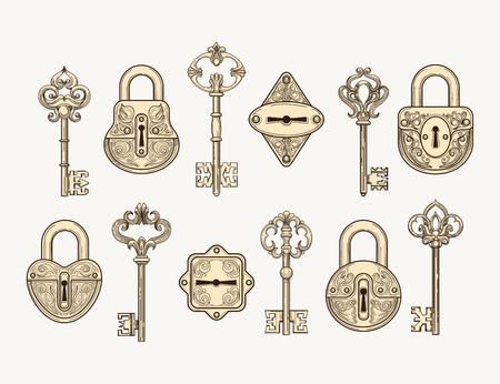 Set of hand drawn vintage keys and locks vector Illustration