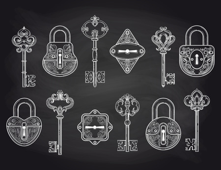 passkey: Set of hand drawn vintage locks and keys on the chalkboard. Vector illustration