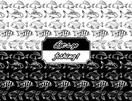 monochromic: Monochromic seamless borders set with hand drawn fish vector