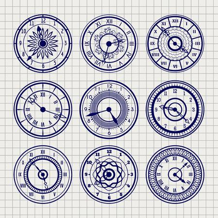 ball pen: Set of ornamental watches vector. Ball pen imitation sketch