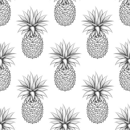 monochromic: Black and white seamless pattern with hand drawn pineapple. Monochromic pineapple vector background Illustration