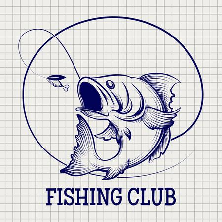 Hand drawn fishing club Ball pen sketch imitation vector Vektorové ilustrace