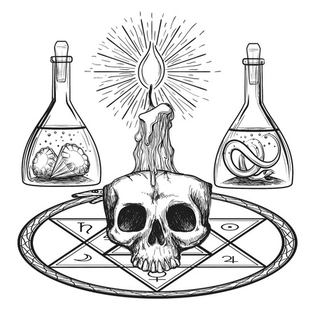 'dark ages': Skull with candle hand drawn alchemy occult elements from dark ages vector illustration Illustration