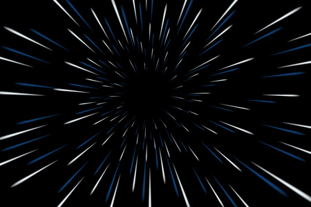 Warp stars galaxy vector illustration. Zoom in light speed space Çizim