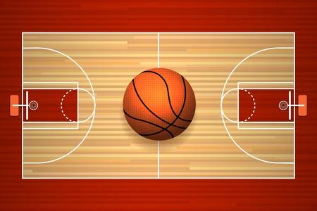 chaussée de la cour de basket-ball en bois vue de dessus illustration vectorielle
