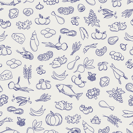 Food seamless pattern. Hand drawn vegetable fruits berries and grocery food background. Vector illustration