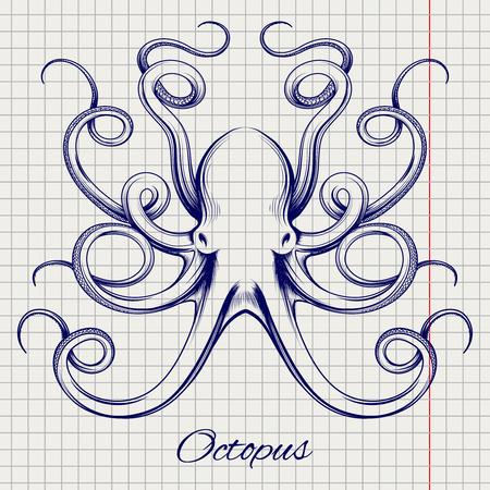 手描きのタコのベクトル。ボール ペン模倣スケッチ