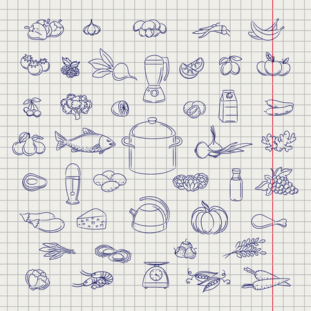 ball pen: Popular hand drawn fruits berries vegetable and grocery objects. Ball pen imitation vector Illustration
