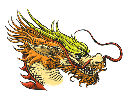 Chinese Dragon Head vector illustratie. China Draghi oude mascotte