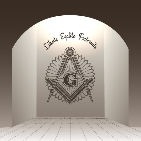 masonic: Masonic sign in arch with stone floor vector illustration. Liberte Egalite Fraternite