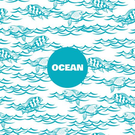 Ocean pattern avec des poissons dans le vecteur d'ondes