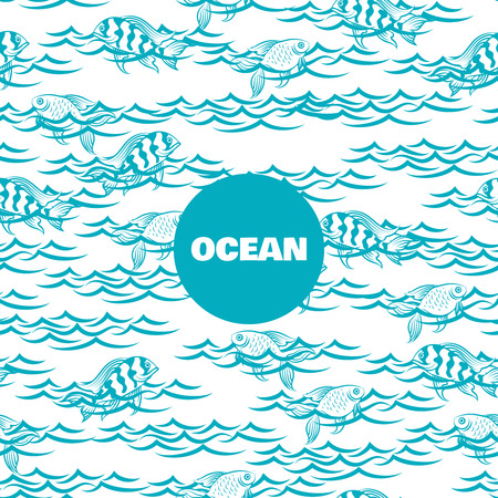 Ocean seamless pattern with fish in the waves vector Illustration