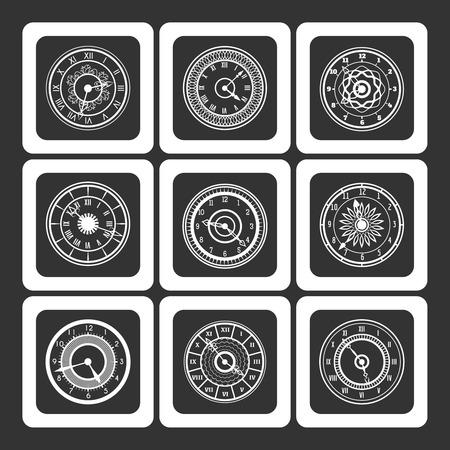 monochromic: Monochromic ornamental watches icons set vector illustration Illustration