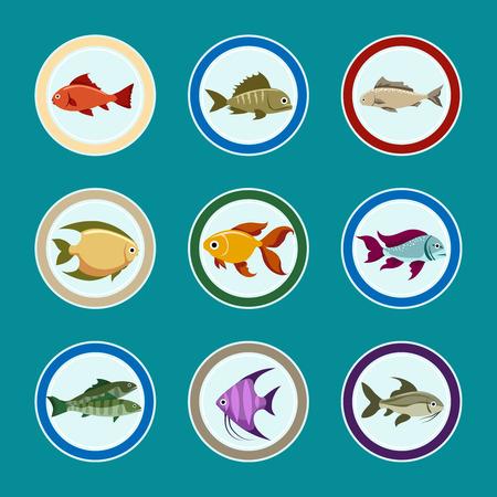 Fisch auf den Vektor-Icons Platte. Sea-Food-Restaurant Menü-Icons Set