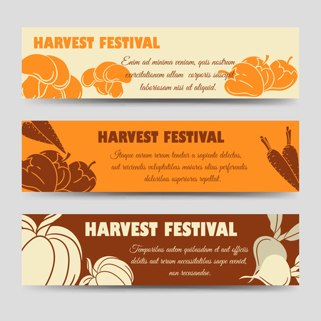 festival of the grape harvest: Harvest festival horizontal banners template with pumpkin mushrooms peppers. Vector illustration Illustration