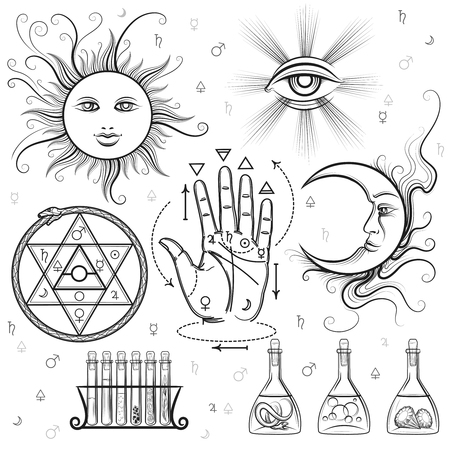palm reading: Esoteric signs. Vector symbols of philosophy and alchemy, masonic and occult sciences