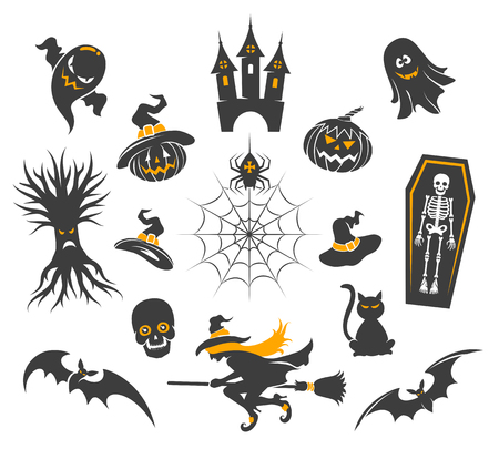 whitch: Halloween icons with halloween pumpkins isolated on white. Spider and black cat, skull and witch vector illustration