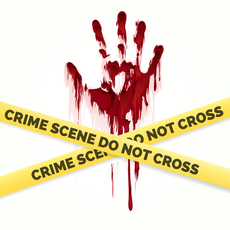 scotch: Bloody handprint and police crime scene scotch vector isolated on white background