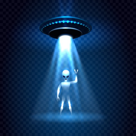 ufology: UFO invasion sky light beam with alien isolated on transparent background. Vector illustration Illustration