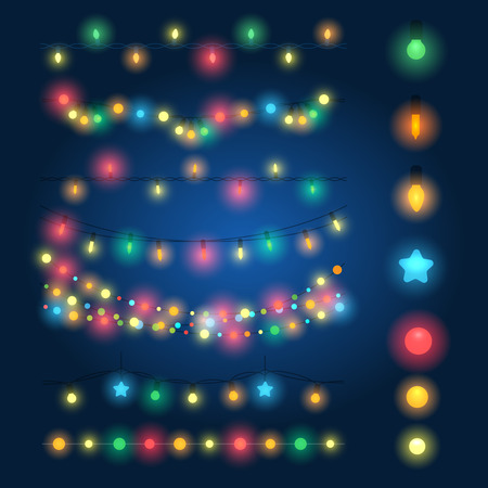 Christmas string lights vector illustration. Fairy xmas hanging lighting background