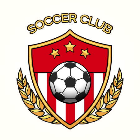 Vector soccer club emblem or football sports team logo isolated on white background