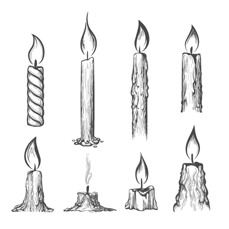 white candle: Candle hand drawn set. Vector burning candles sketch on white