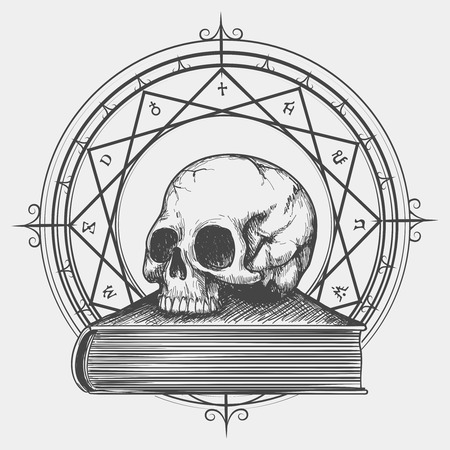 Magic book sketch. Esoteric concept of human skull on occult book hand drawn vector illustration