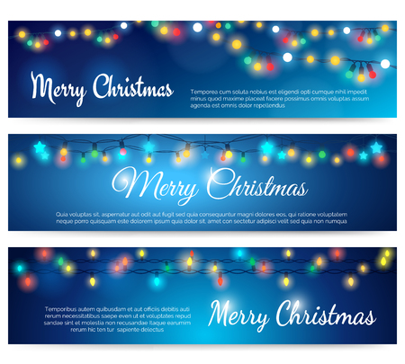 string lights: Christmas header with string lights. Xmas or Merry Christmas blue banners with garland bulb lights vector illustration Illustration