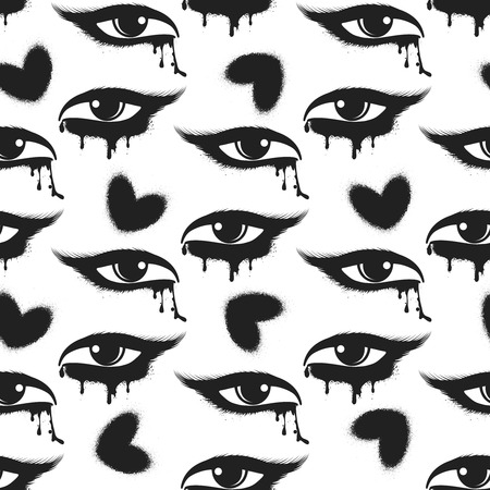tearful: Seamless pattern with black grunge hearts and tearful eyes. Vector illustration Illustration