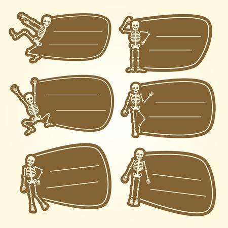 Dansing skeletons teenager stickers icons set. Vector illustration Illustration