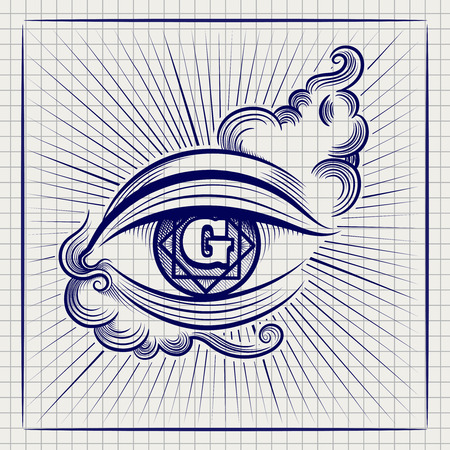 eye ball: Ball pen sketch of Egypt God eye or spiritual eye on notebook page. Vector illustration Illustration