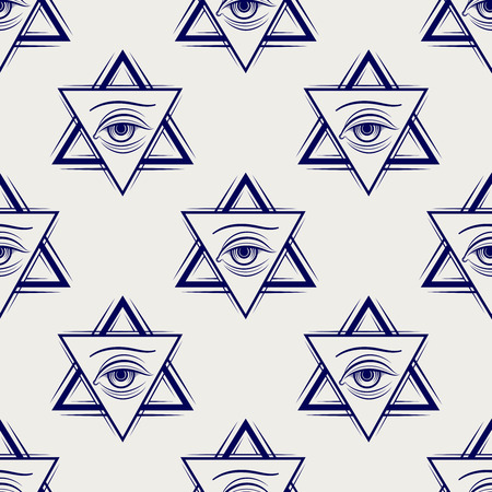 eye ball: Double triangle and eye ball pen style freemasony seamless pattern. Vector illustration Illustration