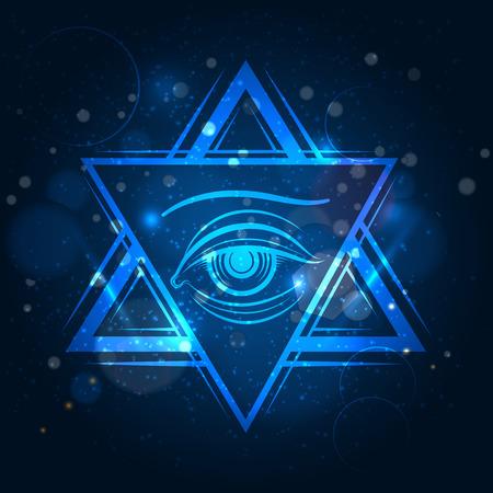Double triangle and eyeicon. Freemasony vector sign on blue shining background