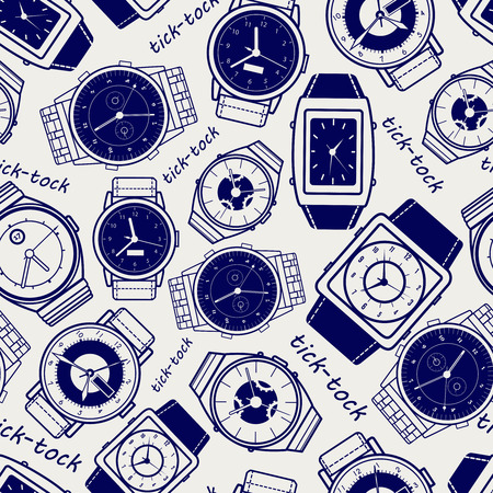 ball pen: Seamless pattern with watches ball pen imitation vector
