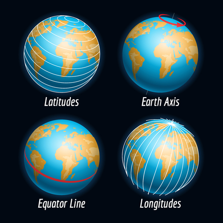 Earth vector with latitudes longitudes earth axis and equater line Illustration