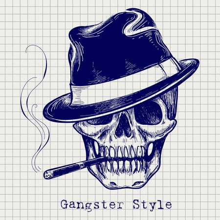 Sketch of gangster skull vector with hat and cigarette Stock Illustratie