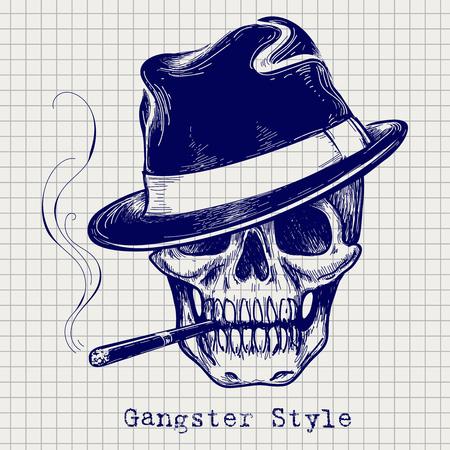 Schizzo del vettore cranio gangster con cappello e sigaretta