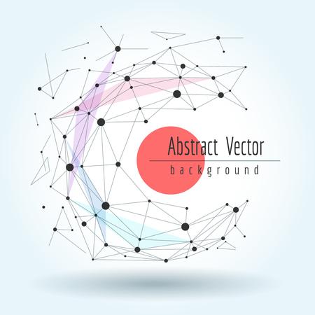 接続された直線とドットのワイヤ フレーム メッシュ多角形球。ベクトル グラフィックスの幾何学的変換の概念