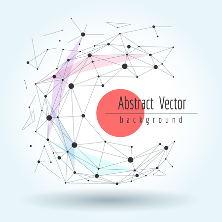 Wireframe mesh polygonal sphere with connected lines and dots. Vector graphics geometric transformation concept Ilustracja