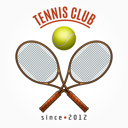 cross match: Tennis team club label with crossed racquets and tennis ball isolated on white background vector